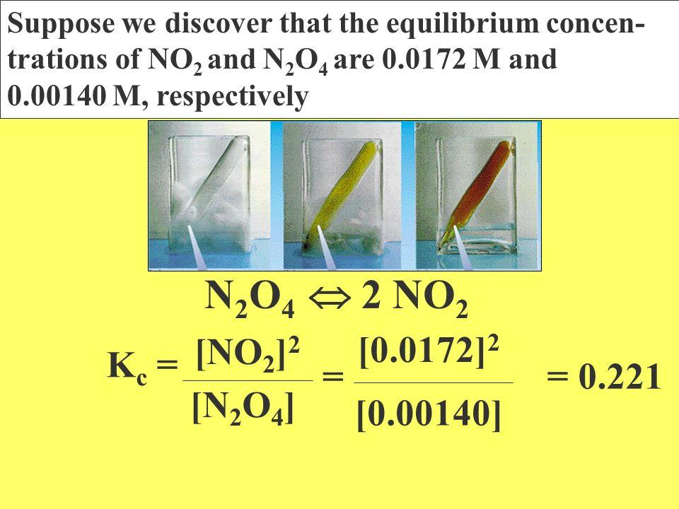 N2O4  2 NO2 [0.0172]2 [NO2]2 Kc = = = 0.221 [N2O4] [0.00140]